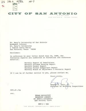 Primary view of object titled 'City of San Antonio Monthly Report of Demolitions, Monthly Minimum Housing Report, Monthly Permit Report, Monthly Permit Comparison Report, and Monthly Board of Adjustment & Historic Report: June 1981'.