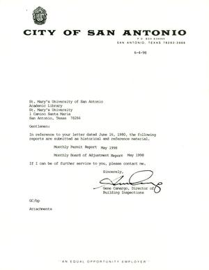 Primary view of object titled 'City of San Antonio Monthly Permit Report and Monthly Board of Adjustment Report: May 1998'.