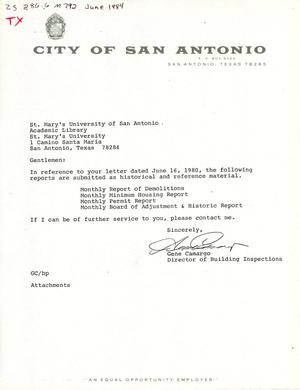 Primary view of object titled 'City of San Antonio Monthly Report of Demolitions, Monthly Minimum Housing Report, Monthly Permit Report, and Monthly Board of Adjustment & Historic Report: June 1984'.