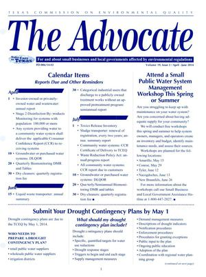 Primary view of object titled 'The Advocate: Volume 19, Issue 2, April - June 2014'.