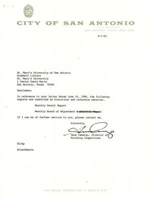 Primary view of object titled 'City of San Antonio Monthly Permit Report and Monthly Board of Adjustment Report: August 1993'.