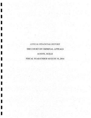 Primary view of object titled 'Texas Court of Criminal Appeals Annual Financial Report: 2014'.