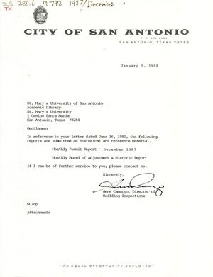 Primary view of object titled 'City of San Antonio Monthly Permit Report and Monthly Board of Adjustment & Historic Report: December 1987'.