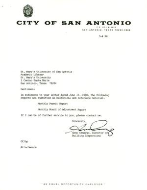 Primary view of object titled 'City of San Antonio Monthly Permit Report and Monthly Board of Adjustment Report: February 1998'.