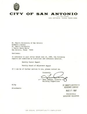 Primary view of object titled 'City of San Antonio Monthly Permit Report and Monthly Board of Adjustment Report: July 1997'.