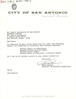 Primary view of object titled 'City of San Antonio Monthly Report of Demolitions, Monthly Minimum Housing Report, Monthly Permit Report, and Monthly Board of Adjustment & Historic Report: May 1983'.