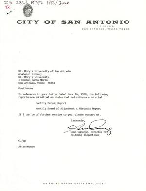 Primary view of object titled 'City of San Antonio Monthly Permit Report and Monthly Board of Adjustment & Historic Report: February 1988'.