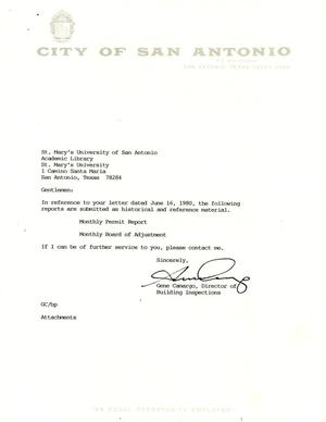 Primary view of object titled 'City of San Antonio Monthly Permit Report and Monthly Board of Adjustment Report: August 1994'.