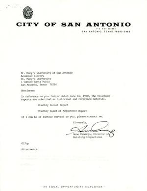 Primary view of object titled 'City of San Antonio Monthly Permit Report and Monthly Board of Adjustment Report: July 2000'.