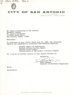 Primary view of object titled 'City of San Antonio Monthly Report of Demolitions, Monthly Minimum Housing Report, Monthly Permit Report, and Monthly Board of Adjustment & Historic Report: February 1983'.