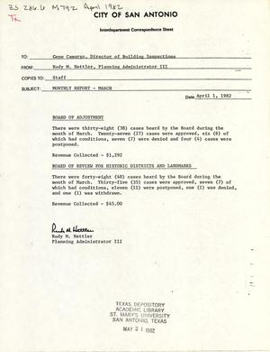 Primary view of object titled 'City of San Antonio Monthly Board of Adjustment & Historic Report: March 1982'.