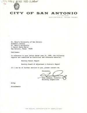 Primary view of object titled 'City of San Antonio Monthly Permit Report and Monthly Board of Adjustment & Historic Report: October 1988'.