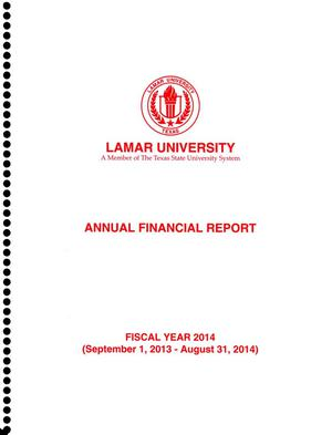 Primary view of object titled 'Lamar University Annual Financial Report: Fiscal Year ended August 31, 2014'.