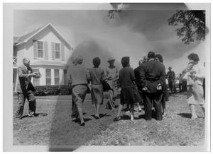 Primary view of object titled '[People Outside of the Texas White House]'.