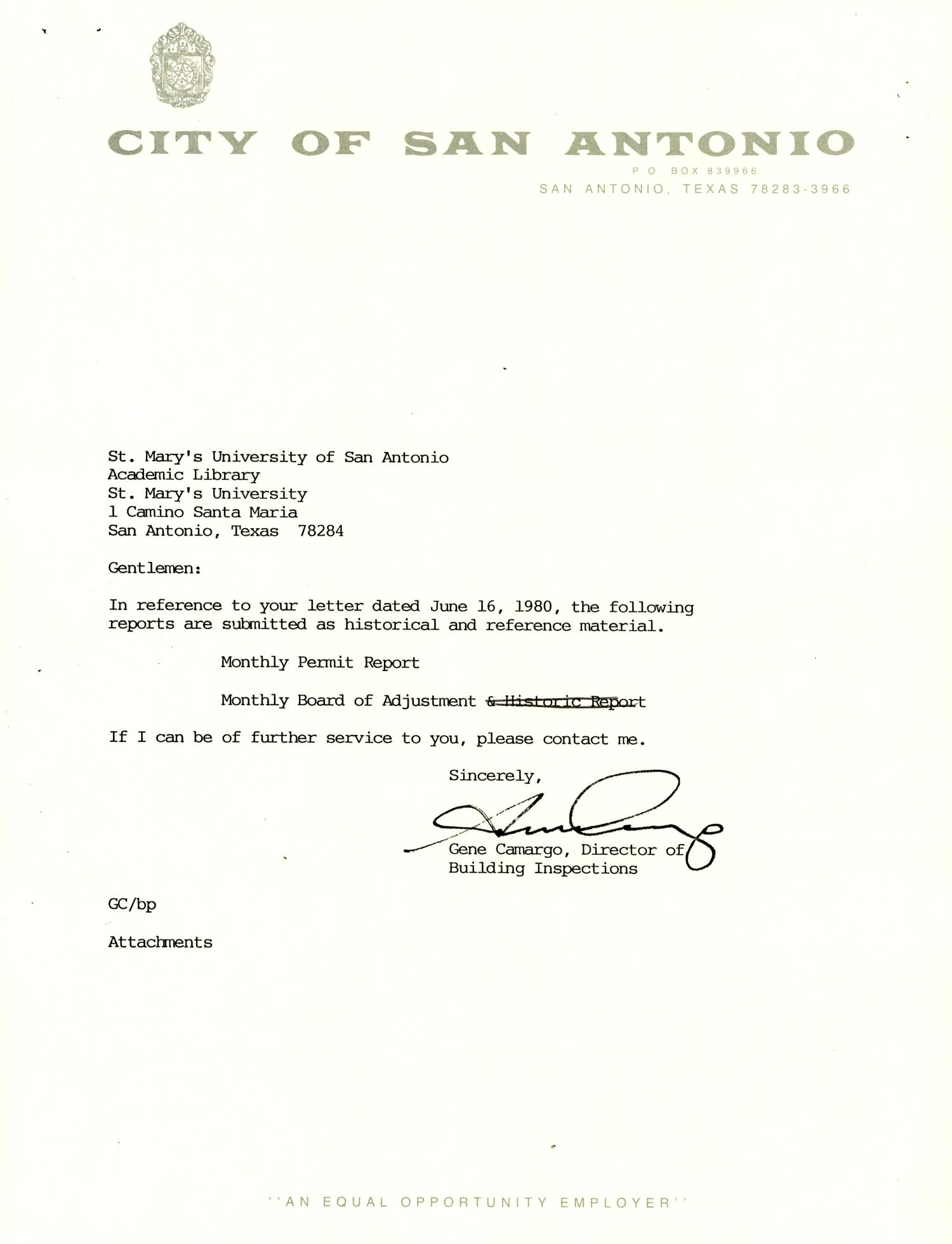 City of San Antonio Monthly Permit Report and Monthly Board of Adjustment Report: January 1994                                                                                                      Letter
