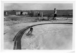 Primary view of object titled '[Men at a Pool]'.