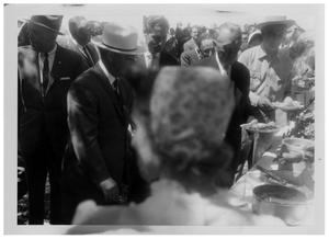 Primary view of object titled '[People in Line for Catered Food]'.