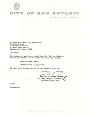 Primary view of object titled 'City of San Antonio Monthly Permit Report and Monthly Board of Adjustment Report: October 1992'.