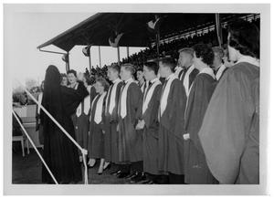 Primary view of object titled '[Choir Singing in a Stadium]'.