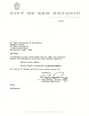 Primary view of object titled 'City of San Antonio Monthly Permit Report and Monthly Board of Adjustment Report: March 1993'.
