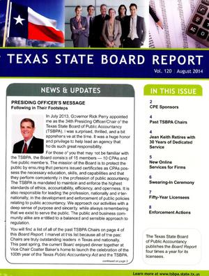 Primary view of object titled 'Texas State Board Report Volume 120 August, 2014'.