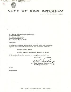 Primary view of object titled 'City of San Antonio Monthly Permit Report and Monthly Board of Adjustment & Historic Report: December 1988'.
