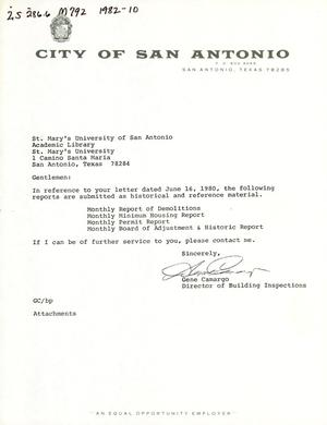 Primary view of object titled 'City of San Antonio Monthly Report of Demolitions, Monthly Minimum Housing Report, Monthly Permit Report, and Monthly Board of Adjustment & Historic Report: October 1982'.