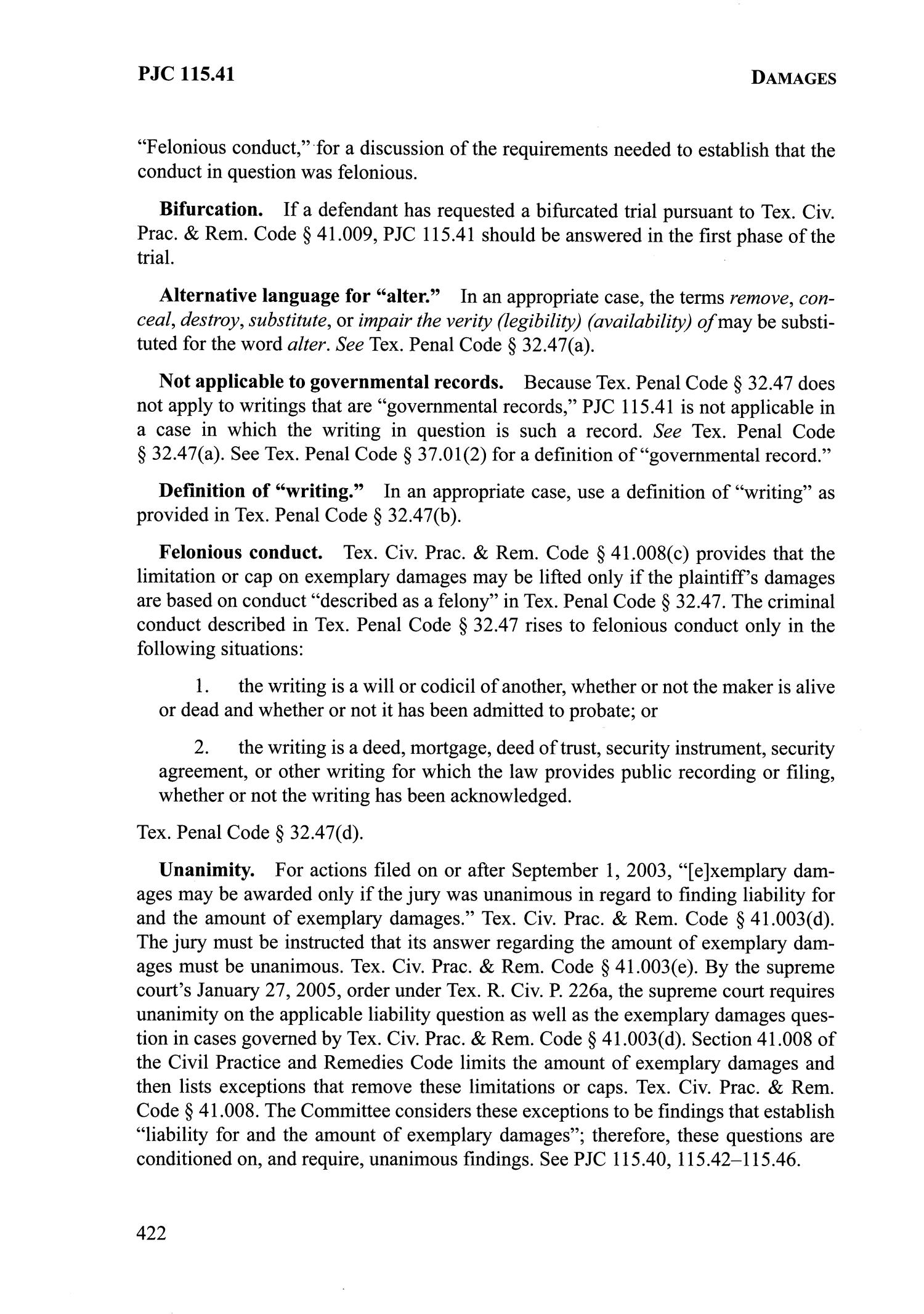 Texas Pattern Jury Charges: Business, Consumer, Insurance U0026 Employment    Page 422   The Portal To Texas History