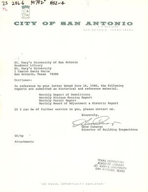 Primary view of object titled 'City of San Antonio Monthly Report of Demolitions, Monthly Minimum Housing Report, Monthly Permit Report, and Monthly Board of Adjustment & Historic Report: April 1982'.