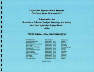 Primary view of object titled 'Texas Animal Health Commission Requests for Legislative Appropriations: Fiscal Years 2016-2017'.