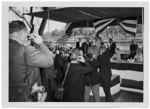 Primary view of object titled '[Lyndon Johnson Placing a Hat upon a Foreign Dignitary]'.