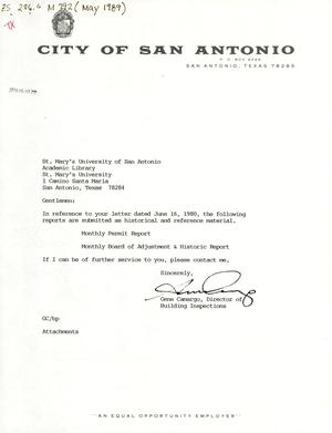 Primary view of object titled 'City of San Antonio Monthly Permit Report and Monthly Board of Adjustment & Historic Report: May 1989'.