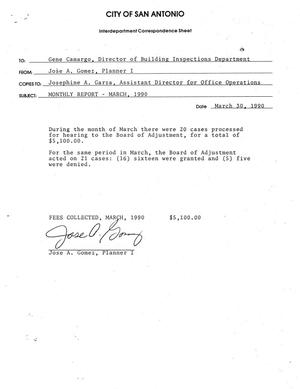 Primary view of object titled 'City of San Antonio Monthly Board of Adjustment Report and Monthly Historic Review Board Report: March 1990'.