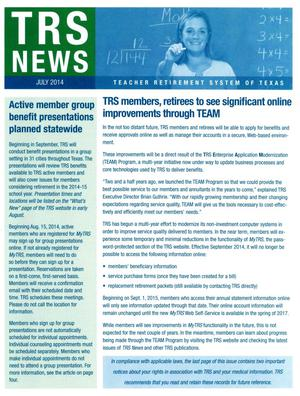 Primary view of object titled 'TRS News, July 2014'.