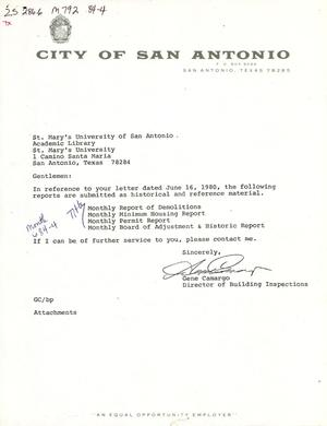 Primary view of object titled 'City of San Antonio Monthly Report of Demolitions, Monthly Minimum Housing Report, Monthly Permit Report, and Monthly Board of Adjustment & Housing Report: April 1984'.