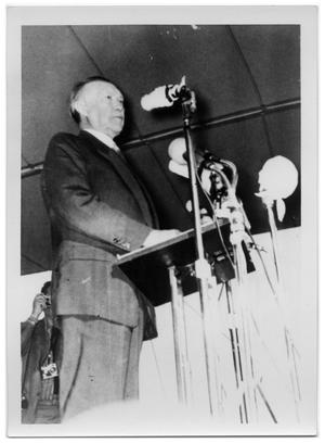 Primary view of object titled '[Konrad Adenauer Speaking at a Lectern]'.