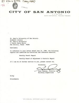 Primary view of object titled 'City of San Antonio Monthly Permit Report and Monthly Board of Adjustment & Historic Report: April 1989'.