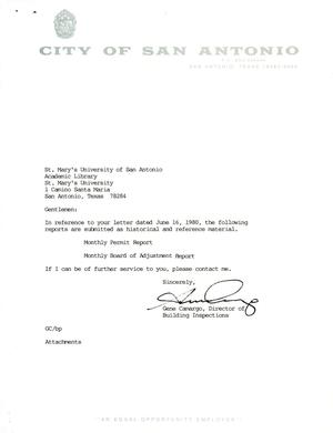 Primary view of object titled 'City of San Antonio Monthly Permit Report and Monthly Board of Adjustment Report: April 1997'.