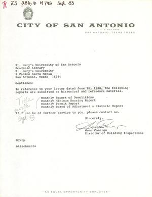 Primary view of object titled 'City of San Antonio Monthly Report of Demolitions, Monthly Minimum Housing Report, Monthly Permit Report, and Monthly Board of Adjustment & Historic Report: October 1983'.
