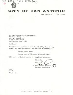 Primary view of object titled 'City of San Antonio Monthly Permit Report and Monthly Board of Adjustment & Historic Report: June 1988'.