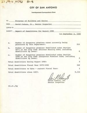 Primary view of object titled 'City of San Antonio Monthly Report of Demolitions, Monthly Minimum Housing Report, and Monthly Permit Report: August 1980'.