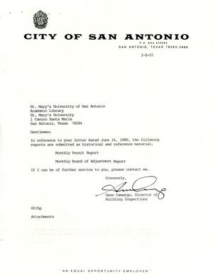 Primary view of object titled 'City of San Antonio Monthly Permit Report and Monthly Board of Adjustment Report: February 2001'.