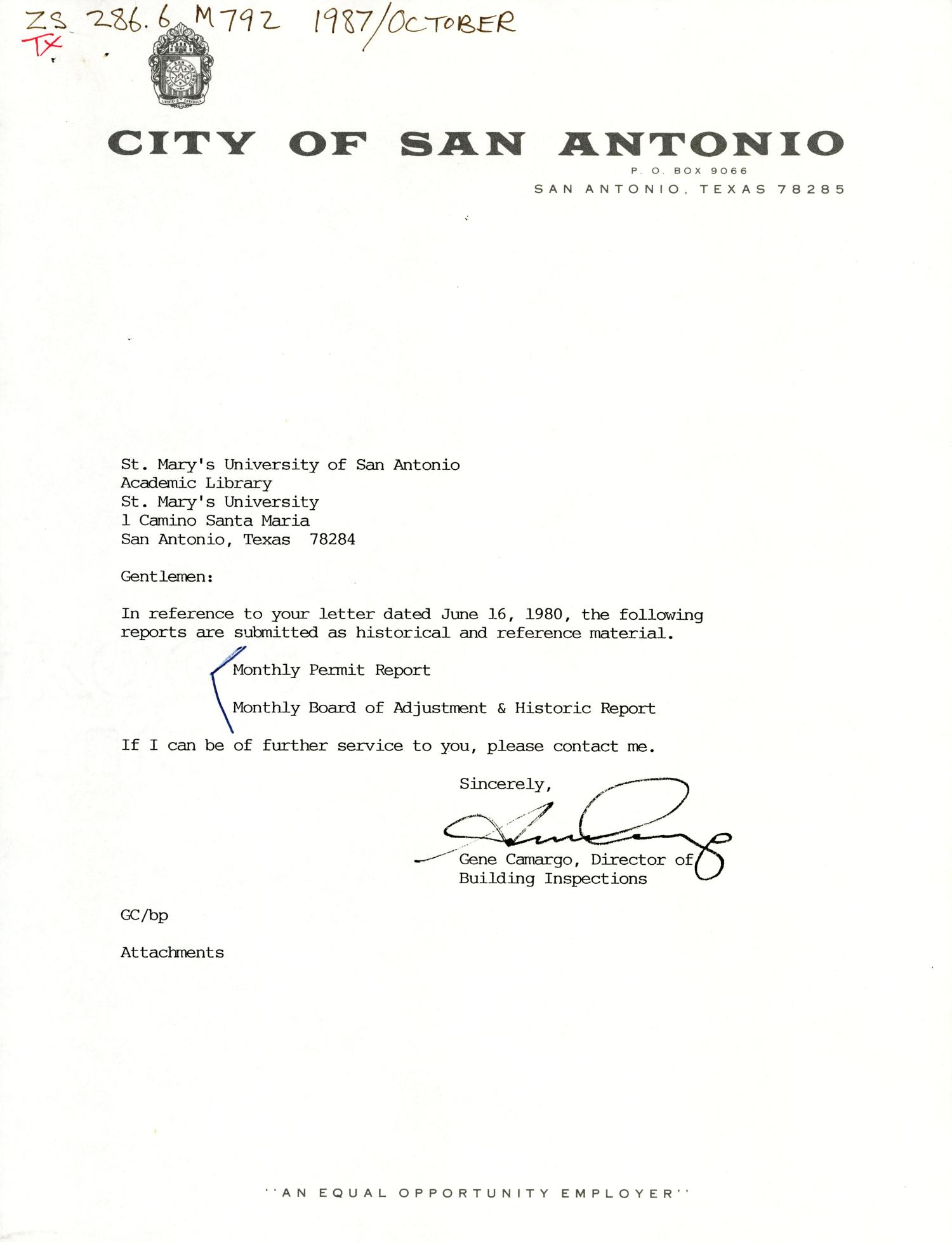 City of San Antonio Monthly Permit Report and Monthly Board of Adjustment & Historic Report: October 1987                                                                                                      Letter