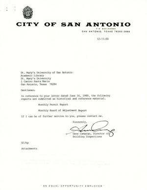 Primary view of object titled 'City of San Antonio Monthly Permit Report and Monthly Board of Adjustment Report: November 2000'.