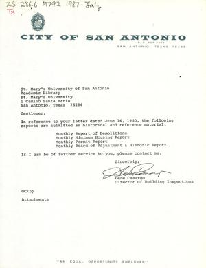 Primary view of object titled 'City of San Antonio Monthly Report of Demolitions, Monthly Minimum Housing Report, Monthly Permit Report, and Monthly Board of Adjustment & Historic Report: July 1987'.