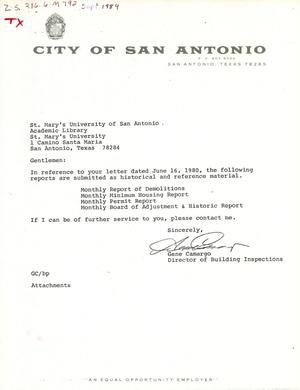 Primary view of object titled 'City of San Antonio Monthly Report of Demolitions, Monthly Minimum Housing Report, Monthly Permit Report, and Monthly Board of Adjustment & Historic Report: September 1984'.