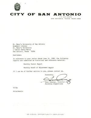 Primary view of object titled 'City of San Antonio Monthly Permit Report and Monthly Board of Adjustment Report: November 1999'.
