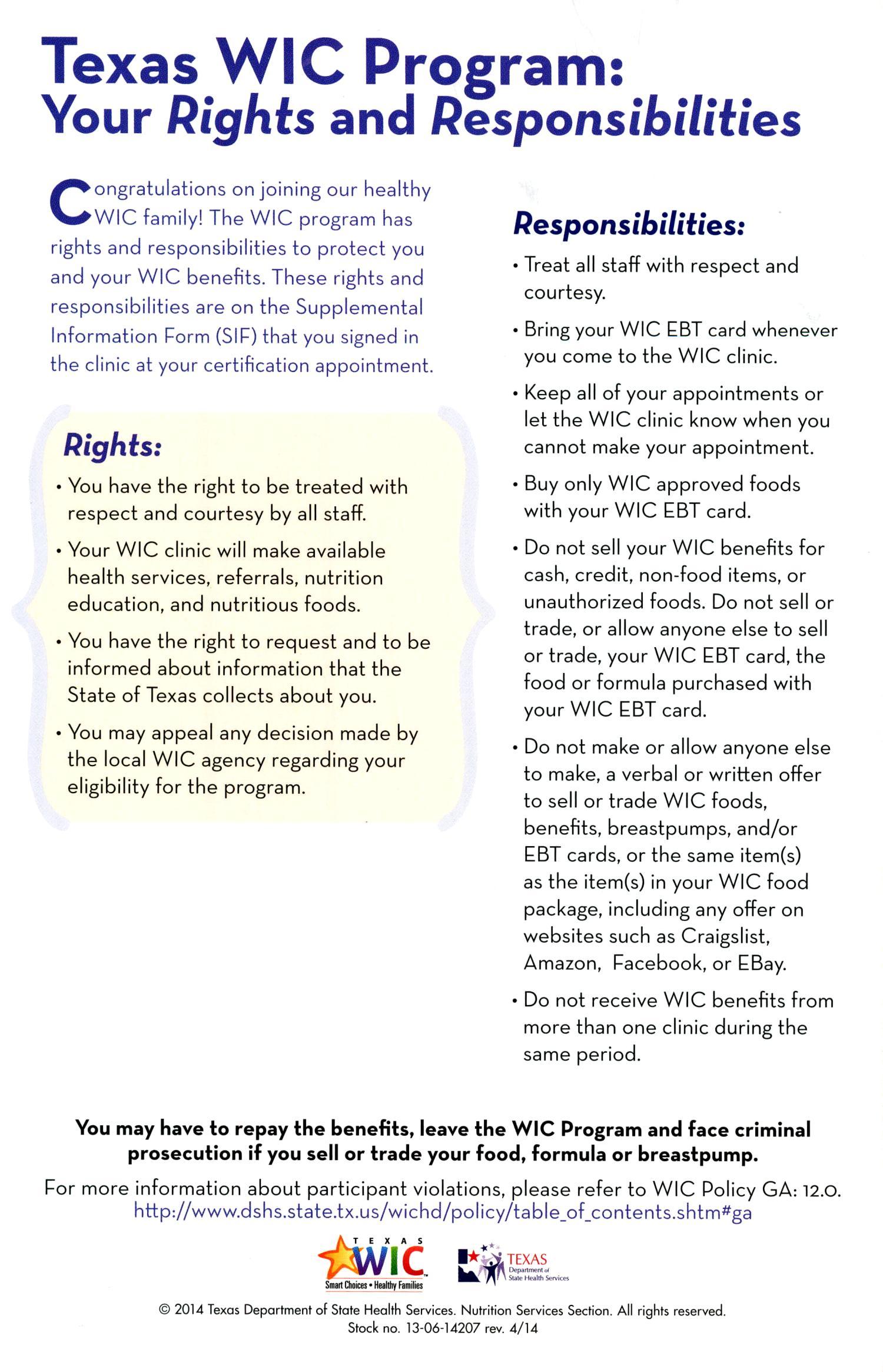 Derechos Y Responsabilidades Del Participante De Wic En Texas Page