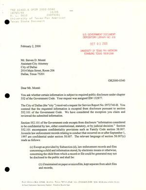 Primary view of object titled 'Texas Attorney General Open Records Letter Ruling: OR2000-0340'.