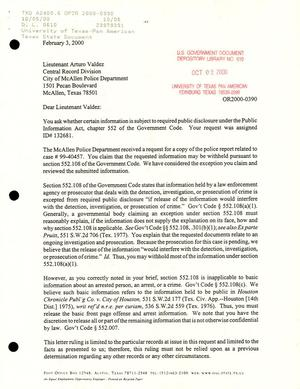 Primary view of object titled 'Texas Attorney General Open Records Letter Ruling: OR2000-0390'.